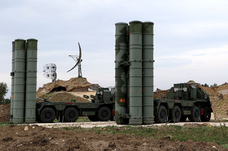 "A picture shows two Russian S-400 Triumf S-400 Triumf missile system  at the Russian Hmeimim military base in Latakia province, in the northwest of Syria, on December 16, 2015.   Russia began its air war in Syria on September 30, conducting air strikes against a range of anti-regime armed groups including US-backed rebels and jihadist groups. Moscow has said it is fighting and other ""terrorist groups,"" but its campaign has come under fire by Western officials who accuse the Kremlin of seeking to prop up Syrian President Bashar al-Assad.  / AFP / Paul GYPTEAU        (Photo credit should read PAUL GYPTEAU/AFP/Getty Images)"