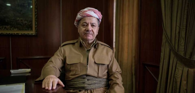 President of the Kurdistan Region of Iraq Masoud Barzani poses for a portrait at the presidential palace at Masif, Iraqi Kurdistan on 12 June 2016 (Campbell MacDiarmid)