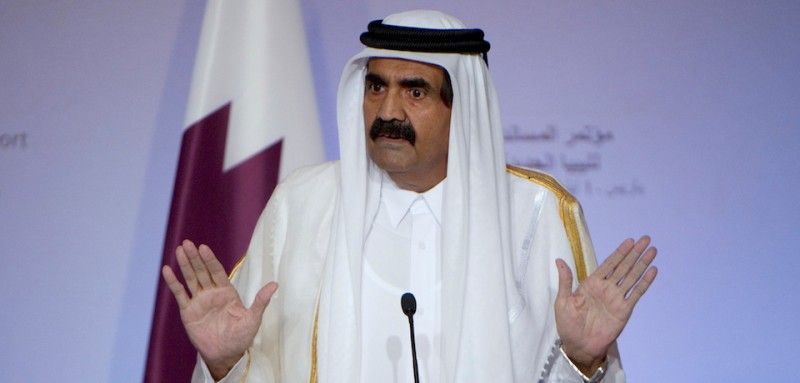 "The emir of Qatar, Sheikh Hamad bin Khalifa al-Thani speaks during a press conference following a summit on the post-Kadhafi held at the Elysee Palace in Paris on September 1, 2011. France hosts a ""Friends of Libya"" conference to allow states that stood by during the uprising that ousted Moamer Kadhafi to belatedly back Tripoli's fledgling revolutionary regime. AFP PHOTO / LIONEL BONAVENTURE (Photo credit should read LIONEL BONAVENTURE/AFP/Getty Images)"