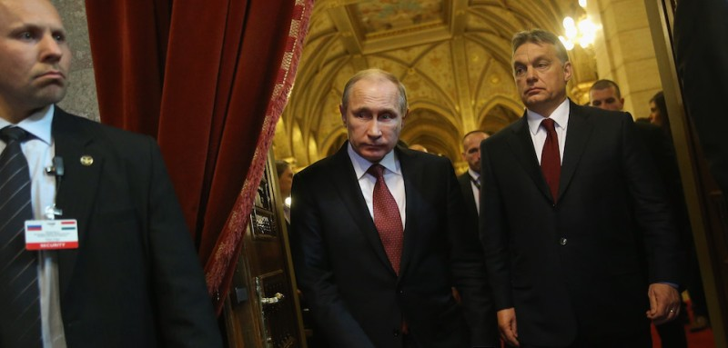 BUDAPEST, HUNGARY - FEBRUARY 17:  Russian President Vladimir Putin (C) and Hungarian Prime Minister Viktor Orban (R) arrive to speak to the media following lengthy talks at Parliament on February 17, 2015 in Budapest, Hungary. Putin is in Budapest on a one-day visit, his first visit to an EU-member country since he attended ceremonies marking the 70th anniversary of the D-Day invasions in France in June, 2014.  (Photo by Sean Gallup/Getty Images)