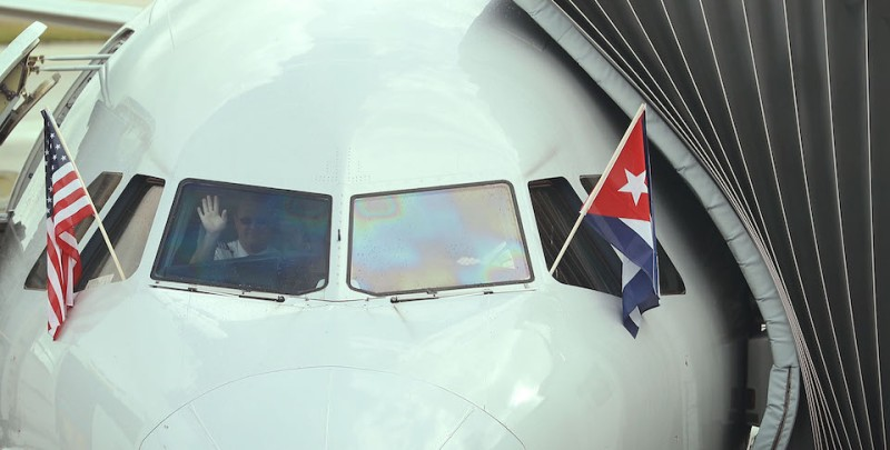 MIAMI, FL - SEPTEMBER 07:  A pilot waves as he prepares to push back from the gate in American Airlines Flight 903, becoming the first commercial flight from Miami to Cuba in 55-years on September 7, 2016 in Miami, Florida.  The flights that left today went to Cienfuegos and Holgun and American Airlines said they will be adding scheduled service from Miami to Camaguey, Cuba and Santa Clara, Cuba on Sept. 9 and from Miami to Varadero, Cuba on Sept. 11 with the airline hoping to begin service to Havana later this year.  (Photo by Joe Raedle/Getty Images)