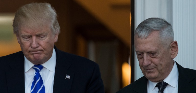 BEDMINSTER TOWNSHIP, NJ - NOVEMBER 19:  (L to R) President-elect Donald Trump and retired United States Marine Corps general James Mattis  exit the clubhouse after their meeting at Trump International Golf Club, November 19, 2016 in Bedminster Township, New Jersey. Trump and his transition team are in the process of filling cabinet and other high level positions for the new administration.  (Photo by Drew Angerer/Getty Images)