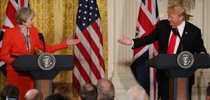 WASHINGTON, DC - JANUARY 27: U.S. President Donald Trump (R) and British Prime Minister Theresa May ,participate in a joint press conference at the East Room of the White House January 27, 2017 in Washington, DC. Prime Minister May is on a visit to the White House and had a bilateral meeting in the Oval Office with President Trump.  (Photo by Mark Wilson/Getty Images)