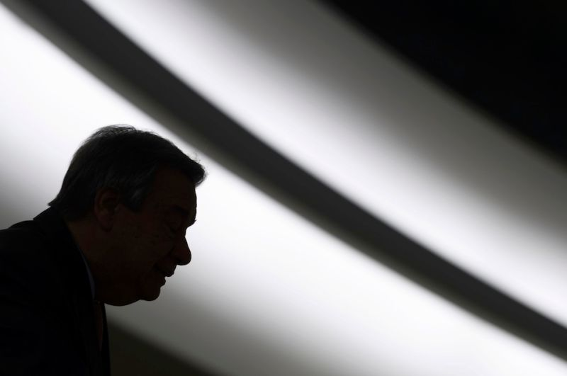 UN Secretary-General Antonio Guterres is seen in silhouette while addressing the United Nations Human Rights Council on February 27, 2017 in Geneva. The United Nations Human Rights Council opens its main annual session, with the US taking its seat for the first time under President Donald Trump's leadership. / AFP / Fabrice COFFRINI        (Photo credit should read FABRICE COFFRINI/AFP/Getty Images)