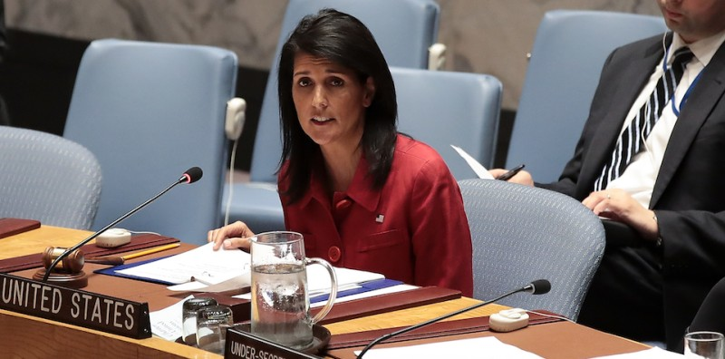 NEW YORK, NY - APRIL 7: U.S. Ambassador to the United Nations Nikki Haley delivers remarks during a meeting of the United Nations Security Council concerning the situation in Syria, at UN headquarters, April 7, 2017 in New York City. On Thursday night, the United States launched airstrikes directed at Syrian government air bases in response to the chemical attack earlier in the week. (Photo by Drew Angerer/Getty Images)