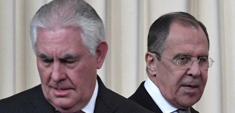 Russian Foreign Minister Sergei Lavrov (R) and US Secretary of State Rex Tillerson arrive to attend a press conferece after their talks in Moscow on April 12, 2017.   Russian President Vladimir Putin on Wednesday met US Secretary of State Rex Tillerson after complaining of worsening ties with Donald Trump's administration as the two sides spar over Syria. Putin received Tillerson at the Kremlin along with Russia's Foreign Minister Sergei Lavrov after the top diplomats held several hours of talks dominated by the fallout of an alleged chemical attack in Syria.  / AFP PHOTO / Alexander NEMENOV        (Photo credit should read ALEXANDER NEMENOV/AFP/Getty Images)