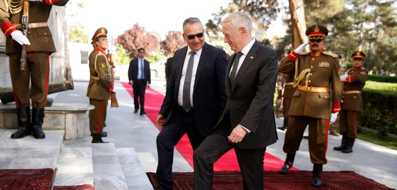 KABUL, AFGHANISTAN - APRIL 24: U.S. Defense Secretary James Mattis (center right) is greeted by Presidential Palace staff as he arrives to meet with Afghanistan's President Ashraf Ghani on April 24, 2017 in in Kabul, Afghanistan. Mattis is on a regional tour of the Middle East.  (Photo by Jonathan Ernst - Pool/Getty Images)