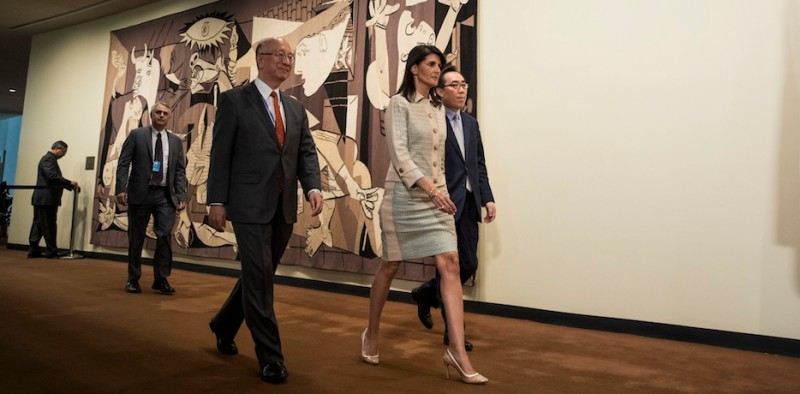 NEW YORK, NY - MAY 16: (L to R) Koro Bessho, Japanese ambassador to the United Nations, Nikki Haley, U.S. ambassador to the United Nations, and Cho Tae-yul, South Korean Ambassador to the United Nations, arrive a press briefing before a meeting of the United Nations Security Council concerning North Korea, May 16, 2017 in New York City. Following another ballistic missile test launch from North Korea, the UN Security Council once again condemned the isolated nation. (Photo by Drew Angerer/Getty Images)