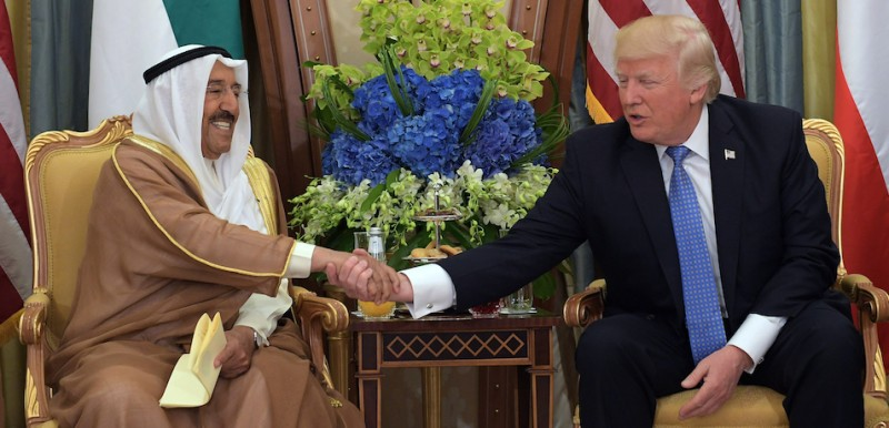 US President Donald Trump (R) and Kuwait's Emir Sheikh Sabah al-Ahmad al-Jaber al-Sabah take part in a bilateral meeting at a hotel in Riyadh on May 21, 2017. / AFP PHOTO / MANDEL NGAN        (Photo credit should read MANDEL NGAN/AFP/Getty Images)