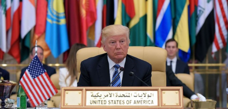 US President Donald Trump is seated during the Arab Islamic American Summit at the King Abdulaziz Conference Center in Riyadh on May 21, 2017. / AFP PHOTO / MANDEL NGAN        (Photo credit should read MANDEL NGAN/AFP/Getty Images)