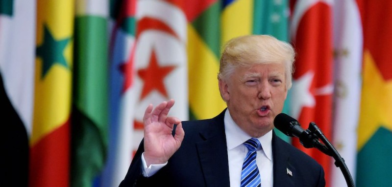 US President Donald Trump speaks during the Arab Islamic American Summit at the King Abdulaziz Conference Center in Riyadh on May 21, 2017. / AFP PHOTO / MANDEL NGAN        (Photo credit should read MANDEL NGAN/AFP/Getty Images)