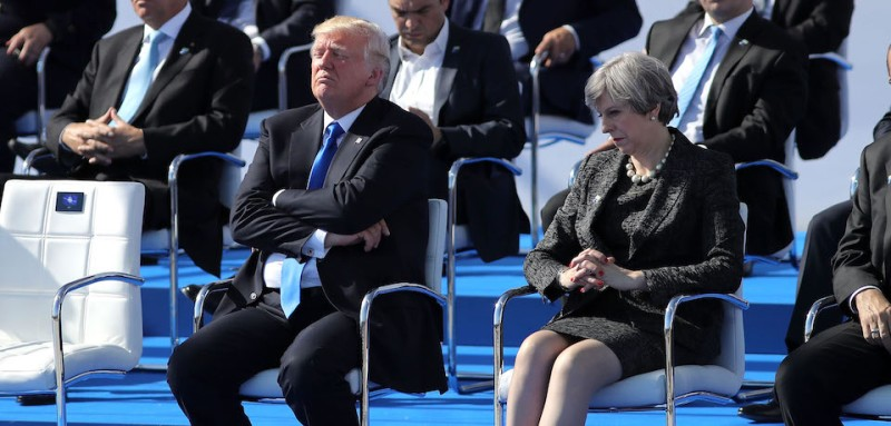 BRUSSELS, BELGIUM - MAY 25:  US President, Donald Trump and British Prime Minister, Theresa May are pictured ahead of a photo opportunity of leaders as they arriving for a NATO summit meeting on May 25, 2017 in Brussels, Belgium. The North Atlantic Treaty Organisation (NATO) is made up of 28 countries. This year's summit is held at their new headquarters in Brussels.  The US President Donald Trump will meet other leaders to discuss NATO taking a greater role in the fight against ISIS.  (Photo by Dan Kitwood/Getty Images)