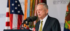 WEST POINT, NY - MAY 27:  U.S. Defense Secretary Jim Mattis speaks to West Point graduates during the U.S. Military Academy Class of 2017 graduation ceremony at Michie Stadium on May 27, 2017 in West Point, New York. Secretary Mattis addressed the 950 graduating cadets during the ceremony. (Photo by Eduardo Munoz Alvarez/Getty Images)