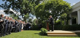 WASHINGTON, DC - JUNE 01:  U.S. President Donald Trump receives a standing ovation while announcing his decision for the United States to pull out of the Paris climate agreement in the Rose Garden at the White House June 1, 2017 in Washington, DC. Trump pledged on the campaign trail to withdraw from the accord, which former President Barack Obama and the leaders of 194 other countries signed in 2015. The agreement is intended to encourage the reduction of greenhouse gas emissions in an effort to limit global warming to a manageable level.  (Photo by Chip Somodevilla/Getty Images)