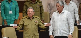 Cuban President Raul Castro (C), speaks next to first vice president Miguel Diaz-Canel during a special session of the Cuban Parliament, on June 1, 2017, to discuss about economic policies. / AFP PHOTO / STR        (Photo credit should read STR/AFP/Getty Images)