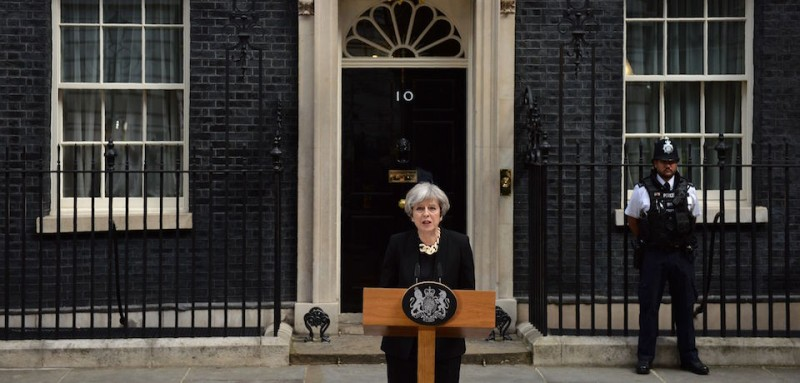 Britain's Prime Minister Theresa May delivers a statement outside 10 Downing Street in central London on June 4, 2017, following the June 3 terror attack. Forty-eight people have been taken to hospital after a terror attack in central London in which seven people died, the London Ambulance Service said Sunday. / AFP PHOTO / Justin TALLIS        (Photo credit should read JUSTIN TALLIS/AFP/Getty Images)