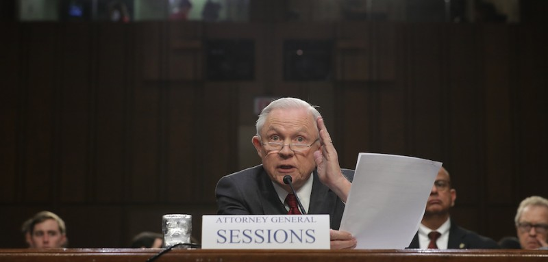 WASHINGTON, DC - JUNE 13:  U.S. Attorney General Jeff Sessions testifies before the Senate Intelligence Committee on Capitol Hill June 13, 2017 in Washington, DC. Sessions recused himself from the Russia investigation and he was later discovered to have had contact with the Russian ambassador last year despite testifying to the contrary during his confirmation hearing.  (Photo by Chip Somodevilla/Getty Images)