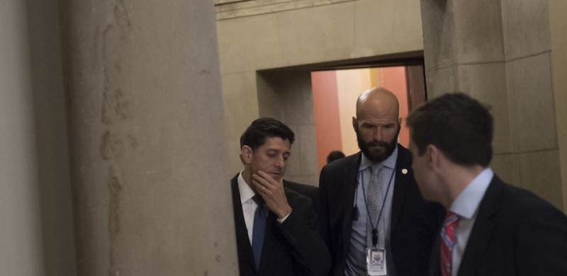US Speaker of the House Paul Ryan walks to a briefing for US House members at the US Capitol in Washington, DC, June 14, 2017, following a shooting incident targeting Congressmen in nearby Virginia. Several people including a top Republican congressman were wounded in a Washington suburb early Wednesday morning when a gunman opened fire as they practiced for an annual baseball game between lawmakers. / AFP PHOTO / SAUL LOEB        (Photo credit should read SAUL LOEB/AFP/Getty Images)