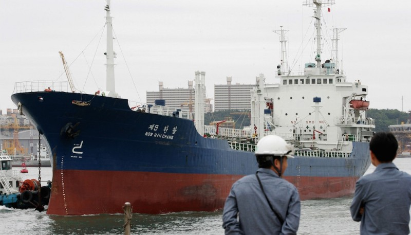ULSAN, SOUTH KOREA - JULY 11: A Ship arrives at Ulsan port to be filled up with fuel oil bound for North Korea on July 11, 2007 in Ulsan, South Korea. North Korea has agreed to suspend operations at nuclear facilities in return for shipments of heavy fuel under the February 13 'aid for disarmament deal'. Pyongyang agreed to close its Yongbyon reactor, the source of its weapons-grade plutonium, in return for 50,000 tons of heavy fuel oil from South Korea.  (Photo by Chung Sung-Jun/Getty Images)