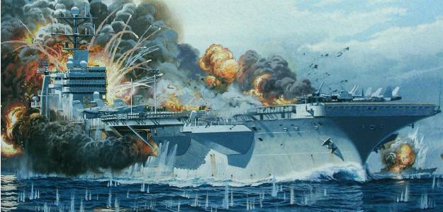 Image result for carrier burn navy missile china