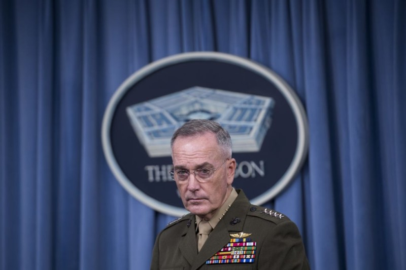 Chairman of the Joint Chiefs of Staff Marine General Joseph Dunford holds a press briefing at the Pentagon in Washington, DC, May 19, 2017. Pentagon chief Jim Mattis stressed Thursday that America is not getting more involved in Syria's civil war, after the US-led coalition struck a pro-regime convoy heading for a remote garrison. / AFP PHOTO / SAUL LOEB        (Photo credit should read SAUL LOEB/AFP/Getty Images)