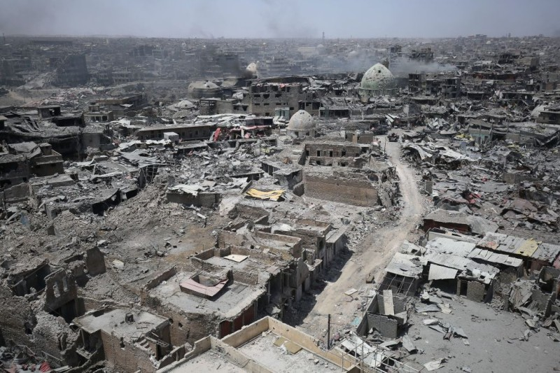 A picture taken on July 9, 2017, shows a general view of the destruction in Mosul's Old City. Iraq will announce imminently a final victory in the nearly nine-month offensive to retake Mosul from jihadists, a US general said Saturday, as celebrations broke out among police forces in the city. / AFP PHOTO / AHMAD AL-RUBAYE        (Photo credit should read AHMAD AL-RUBAYE/AFP/Getty Images)