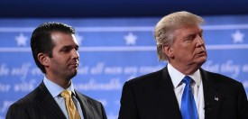 Republican nominee Donald Trump (R) stands with his son  Donald Trump Jr. after the first presidential debate at Hofstra University in Hempstead, New York on September 26, 2016. / AFP / Jewel SAMAD        (Photo credit should read JEWEL SAMAD/AFP/Getty Images)