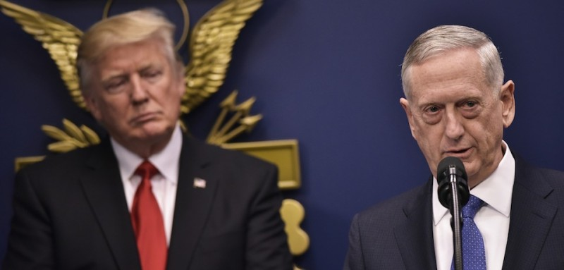 US Secretary of Defense James Mattis speaks after his ceremonial swearing-in as secretary of defense watched by US President Donald Trump on January 27, 2017 at the Pentagon in Washington, DC. / AFP / MANDEL NGAN        (Photo credit should read MANDEL NGAN/AFP/Getty Images)
