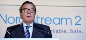 Head of the supervisory board of Gazprom's Nord Stream 2 and former German Chancellor Gerhard Schroeder delivers a speech during a signing ceremony for the Nord Stream 2 gas pipeline agreement in Paris on April, 24, 2017. / AFP PHOTO / ERIC PIERMONT        (Photo credit should read ERIC PIERMONT/AFP/Getty Images)