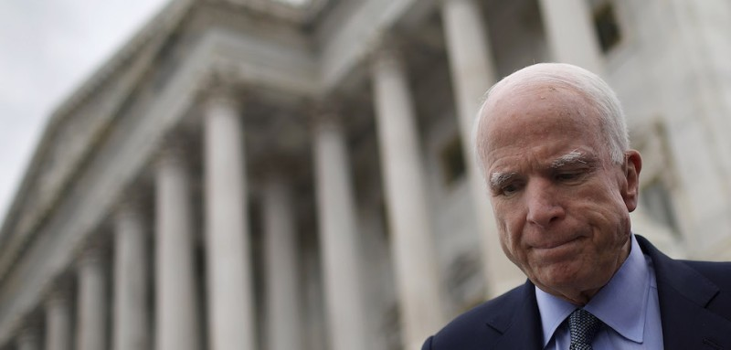 WASHINGTON, DC - APRIL 26:  After answering questions from reporters, Sen. John McCain departs the U.S. Capitol for a briefing on North Korea at the White House April 26, 2017 in Washington, DC. Members of U.S. President Donald Trump's national security team held a briefing on North Korea at the White House for the entire U.S. Senate.  (Photo by Win McNamee/Getty Images)