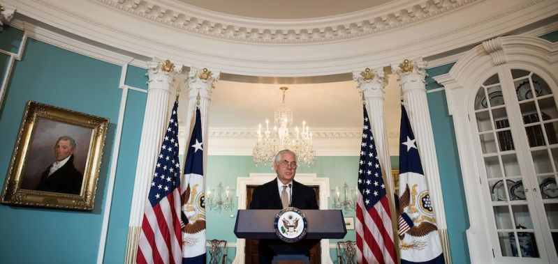 WASHINGTON, DC - JUNE 09: U.S. Secretary of State Rex Tillerson delivers a statement regarding Qatar at the State Department, June 9, 2017 in Washington, DC. Tillerson called on Mideast countries to ease the blockade on Qatar. (Photo by Drew Angerer/Getty Images)
