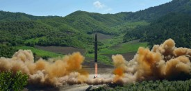 """This picture taken and released on July 4, 2017 by North Korea's official Korean Central News Agency (KCNA) shows the test-fire of the intercontinental ballistic missile Hwasong-14 at an undisclosed location. North Korea declared on July 4 it had successfully tested its first intercontinental ballistic missile -- a watershed moment in its push to develop a nuclear weapon capable of hitting the mainland United States. / AFP PHOTO / KCNA VIA KNS / STR / South Korea OUT / REPUBLIC OF KOREA OUT   ---EDITORS NOTE--- RESTRICTED TO EDITORIAL USE - MANDATORY CREDIT """"AFP PHOTO/KCNA VIA KNS"""" - NO MARKETING NO ADVERTISING CAMPAIGNS - DISTRIBUTED AS A SERVICE TO CLIENTS THIS PICTURE WAS MADE AVAILABLE BY A THIRD PARTY. AFP CAN NOT INDEPENDENTLY VERIFY THE AUTHENTICITY, LOCATION, DATE AND CONTENT OF THIS IMAGE. THIS PHOTO IS DISTRIBUTED EXACTLY AS RECEIVED BY AFP.   /         (Photo credit should read STR/AFP/Getty Images)"""