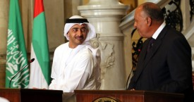 "Egyptian Foreign Minister Sameh Shoukry (R) looks at UAE Foreign Minister Abdullah bin Zayed al-Nahyan during a joint press conference with their Saudi and Bahraini counterparts, after their meeting in the Egyptian capital Cairo on July 5, 2017, discussing the Gulf diplomatic crisis with Qatar, as Doha called for dialogue to resolve the dispute. The Saudi foreign ministry said on July 5, 2017 that it had received Qatar's response to a 13-point list of demands issued on June 22 -- which include Doha ending support for the Muslim Brotherhood and closing broadcaster Al-Jazeera -- and would respond ""at the right time"". / AFP PHOTO / POOL / Khaled ELFIQI        (Photo credit should read KHALED ELFIQI/AFP/Getty Images)"