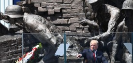 US President Donald Trump gives a speech in front of the Warsaw Uprising Monument on Krasinski Square on the sidelines of the Three Seas Initiative Summit in Warsaw, Poland, July 6, 2017. / AFP PHOTO / JANEK SKARZYNSKI        (Photo credit should read JANEK SKARZYNSKI/AFP/Getty Images)