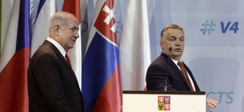 Israeli Prime Minister Benjamin Netanyahu (L) and Hungarian Prime Minister Viktor Orban (R) arrive at the main hall of Pesti Vigado cultural center prior a joint press conference with V4 - Visegrad countries Prime Ministers in Budapest, Hungary, on July 19, 2017. As part of a landmark Hungary visit, Israeli premier Benjamin Netanyahu meets leaders of the so-called Visegrad group, whose nationalists stances have increasingly placed them at odds with the rest of the EU. / AFP PHOTO / PETER KOHALMI        (Photo credit should read PETER KOHALMI/AFP/Getty Images)