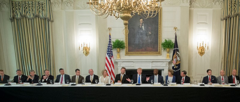 WASHINGTON, DC - JULY 19: (AFP OUT) U.S. President Donald Trump delivers remarks on health care and Republicans' inability thus far to replace or repeal the Affordable Care Act, during a lunch with members of Congress in the State Dining Room of the White House on July 19, 2017 in Washington, DC. (Photo by Michael Reynolds - Pool/Getty Images)