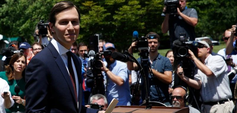 Senior Advisor to the President Jared Kushner leaves after making a statement at the White House after being interviewed by the Senate Intelligence Committee in Washington on July 24, 2017. / AFP PHOTO / YURI GRIPAS        (Photo credit should read YURI GRIPAS/AFP/Getty Images)