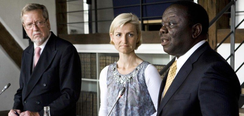 Prime Minister Morgan Tsvangirai (R) of Zimbabwe, Danish minister of development Ulla Tornaes (C) and Danish foreign minister Per Stig Moller (L) look on during their joint press conference in Copenhagen on June 17, 2009.  Tsvangirai is on an official visit to Denmark. AFP PHOTO/SCANPIX/Kristian Juul Pedersen (Photo credit should read Kristian Juul Pedersen/AFP/Getty Images)