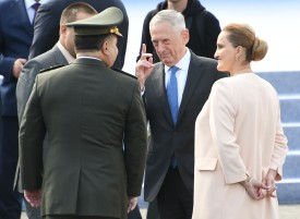 Ukrainian Minister of Defence Stepan Poltorak (L-back) speaks to US Secretary of Defense Jim Mattis (C) before a military parade in Kiev on August 24, 2017 to celebrate the Independence Day, 26 years since Ukraine gained independence from the Soviet Union. / AFP PHOTO / Genya SAVILOV        (Photo credit should read GENYA SAVILOV/AFP/Getty Images)