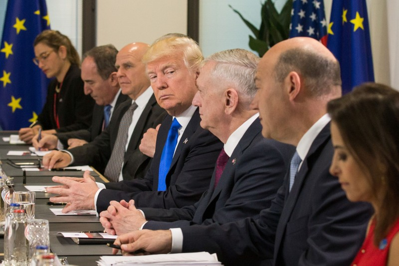 US President Donald Trump (C) and US defence minister, James Mattis (3R) meets with officials during a meeting at the European Union Headquarters during a NATO meeting in Brussels on May 25, 2017.    / AFP PHOTO / POOL / STEPHANIE LECOCQ        (Photo credit should read STEPHANIE LECOCQ/AFP/Getty Images)