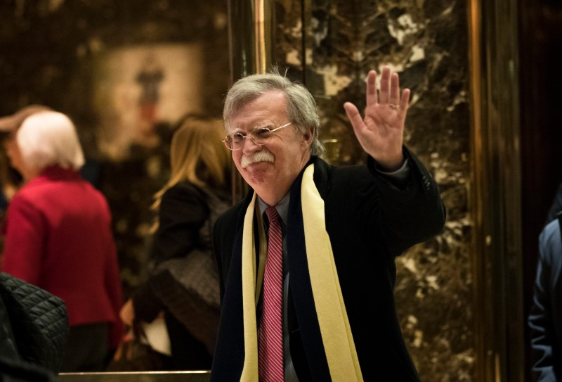 NEW YORK, NY - DECEMBER 2: John Bolton, former United States Ambassador to the United Nations, waves as he leaves Trump Tower, December 2, 2016 in New York City. President-elect Donald Trump and his transition team are in the process of filling cabinet and other high level positions for the new administration. (Photo by Drew Angerer/Getty Images)
