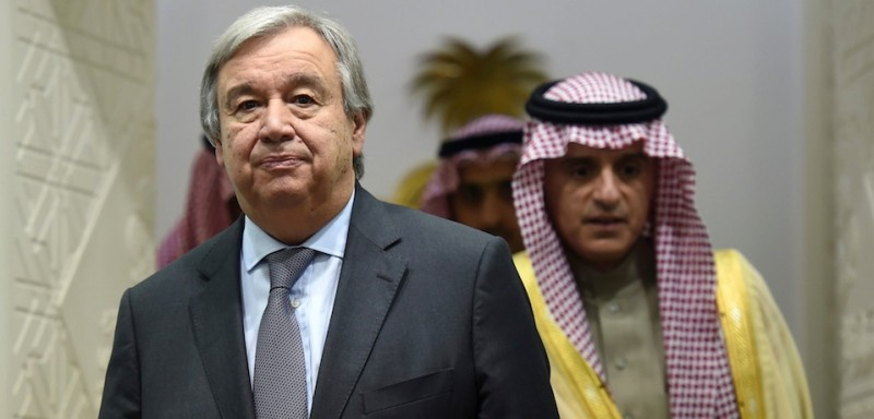 UN Secretary General Antonio Guterres (L) and Saudi Minister of Foreign Affairs, Adel al-Jubeir, arrive to hold a joint press conference in the Saudi capital Riyadh on February 12, 2017. / AFP / FAYEZ NURELDINE        (Photo credit should read FAYEZ NURELDINE/AFP/Getty Images)