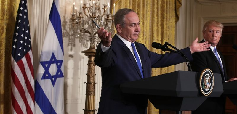 WASHINGTON, DC - FEBRUARY 15:  U.S. President Donald Trump (R) and Israel Prime Minister Benjamin Netanyahu (L) participate in a joint news conference at the East Room of the White House February 15, 2017 in Washington, DC. President Trump hosted Prime Minister Netanyahu for talks for the first time since Trump took office on January 20.  (Photo by Alex Wong/Getty Images)