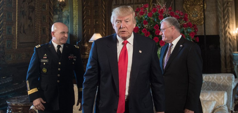 US President Donald Trump (C) walks away after naming US Army Lieutenant General H.R. McMaster (L) as his national security adviser and Keith Kellogg (R) as McMaster's chief of staff at his Mar-a-Lago resort in Palm Beach, Florida, on February 20, 2017. / AFP / NICHOLAS KAMM        (Photo credit should read NICHOLAS KAMM/AFP/Getty Images)