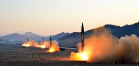 """TOPSHOT - This undated picture released by North Korea's Korean Central News Agency (KCNA) via KNS on March 7, 2017 shows the launch of four ballistic missiles by the Korean People's Army (KPA) during a military drill at an undisclosed location in North Korea.  Nuclear-armed North Korea launched four ballistic missiles on March 6 in another challenge to President Donald Trump, with three landing provocatively close to America's ally Japan. / AFP PHOTO / KCNA VIA KNS / STR / South Korea OUT / REPUBLIC OF KOREA OUT   ---EDITORS NOTE--- RESTRICTED TO EDITORIAL USE - MANDATORY CREDIT """"AFP PHOTO/KCNA VIA KNS"""" - NO MARKETING NO ADVERTISING CAMPAIGNS - DISTRIBUTED AS A SERVICE TO CLIENTS THIS PICTURE WAS MADE AVAILABLE BY A THIRD PARTY. AFP CAN NOT INDEPENDENTLY VERIFY THE AUTHENTICITY, LOCATION, DATE AND CONTENT OF THIS IMAGE. THIS PHOTO IS DISTRIBUTED EXACTLY AS RECEIVED BY AFP.  /         (Photo credit should read STR/AFP/Getty Images)"""