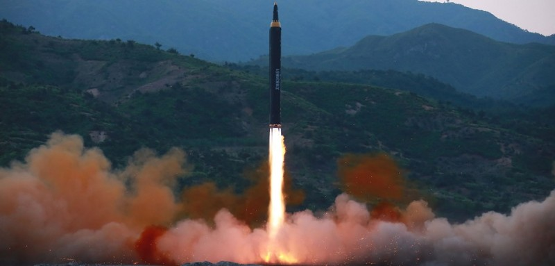 "This picture taken on May 14, 2017 and released from North Korea's official Korean Central News Agency (KCNA) on May 15 shows a test launch of the ground-to-ground medium long-range strategic ballistic rocket Hwasong-12 at an undisclosed location. / AFP PHOTO / KCNA VIA KNS / STR / South Korea OUT / REPUBLIC OF KOREA OUT   ---EDITORS NOTE--- RESTRICTED TO EDITORIAL USE - MANDATORY CREDIT ""AFP PHOTO/KCNA VIA KNS"" - NO MARKETING NO ADVERTISING CAMPAIGNS - DISTRIBUTED AS A SERVICE TO CLIENTS THIS PICTURE WAS MADE AVAILABLE BY A THIRD PARTY. AFP CAN NOT INDEPENDENTLY VERIFY THE AUTHENTICITY, LOCATION, DATE AND CONTENT OF THIS IMAGE. THIS PHOTO IS DISTRIBUTED EXACTLY AS RECEIVED BY AFP.  /         (Photo credit should read STR/AFP/Getty Images)"