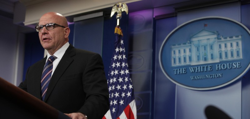 WASHINGTON, DC - MAY 16: National security advisor H.R. McMaster speaks during a press briefing in the Brady Press Briefing Room at the White House May 16, 2017 in Washington, DC. Mcmaster addressed President Trumps upcoming trips and addressed the release of classified intel to Russia.  (Photo by Alex Wong /Getty Images)