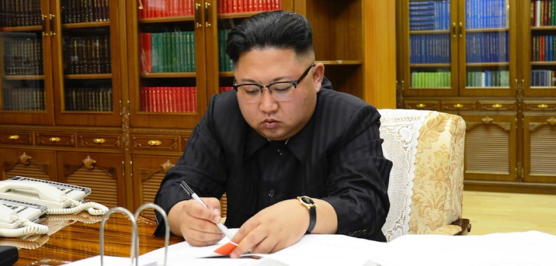 "This picture from North Korea's official Korean Central News Agency (KCNA) taken on July 3, 2017 and released on July 4, 2017 shows North Korean leader Kim Jong-Un signing the order to carry out the test-fire of the intercontinental ballistic missile Hwasong-14 at an undisclosed location. North Korea declared on July 4 it had successfully tested its first intercontinental ballistic missile -- a watershed moment in its push to develop a nuclear weapon capable of hitting the mainland United States. / AFP PHOTO / KCNA VIA KNS / STR / South Korea OUT / REPUBLIC OF KOREA OUT   ---EDITORS NOTE--- RESTRICTED TO EDITORIAL USE - MANDATORY CREDIT ""AFP PHOTO/KCNA VIA KNS"" - NO MARKETING NO ADVERTISING CAMPAIGNS - DISTRIBUTED AS A SERVICE TO CLIENTS THIS PICTURE WAS MADE AVAILABLE BY A THIRD PARTY. AFP CAN NOT INDEPENDENTLY VERIFY THE AUTHENTICITY, LOCATION, DATE AND CONTENT OF THIS IMAGE. THIS PHOTO IS DISTRIBUTED EXACTLY AS RECEIVED BY AFP.   /         (Photo credit should read STR/AFP/Getty Images)"