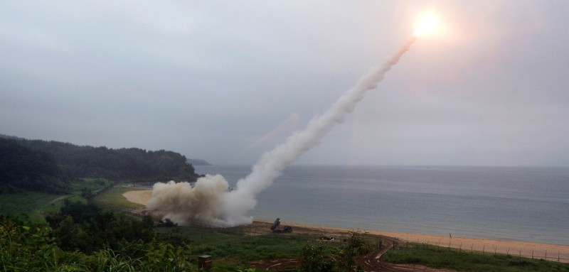 EAST COAST, SOUTH KOREA - JULY 29:  In this handout photo released by the South Korean Defense Ministry, U.S. Army Tactical Missile System (ATACMS) firing a missile into the East Sea during a South Korea-U.S. joint missile drill aimed to counter North Korea's ICBM test on July 29, 2017 in East Coast, South Korea. North Korea launched another test missile, believed to be an Inter Continental Ballistic Missile (ICBM), which travelled 45 minutes before splashing down in the Exclusive Economic Zone (EEZ) of Japan. (Photo by South Korean Defense Ministry via Getty Images)