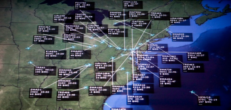 LINTHICUM, MD - AUGUST 26: A television monitor at Baltimore/Washington International Thurgood Marshall Airport shows inbound flights to BWI on Tuesday, Aug. 26, 2008 in Linthicum, MD. A computer malfunction at a Federal Aviation Administration facility in Georgia Tuesday caused widespread flight delays. (Photo by Brendan Hoffman/Getty Images)
